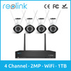 Reolink Home Security Camera System Wireless 1080P 2MP 4ch WiFi NVR Kit w 4 Bullet Outdoor Cam RLK4-210WB4