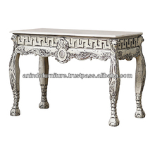 American Distressed Antique Console Table with Carved