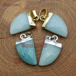 PM9567 Natural Wholesale Faceted Stone Horn Tusk Shape Pendant Amazonite Beads Pendant With Gold Silver Bail In 19*11 mm