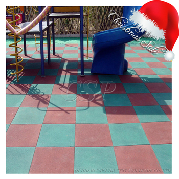 Antiskid Outdoor Blue Rubber Floor Tiles For Public Place