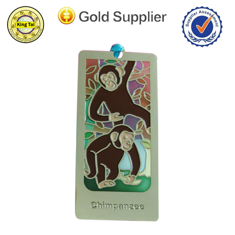 monkey metal bookmark/china supplier bookmark/bookmark etching