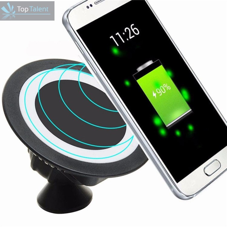 360 rotating smart phone car holder Qi stand wireless charging magnetic holder for samsung galaxy a8/ huawei p9