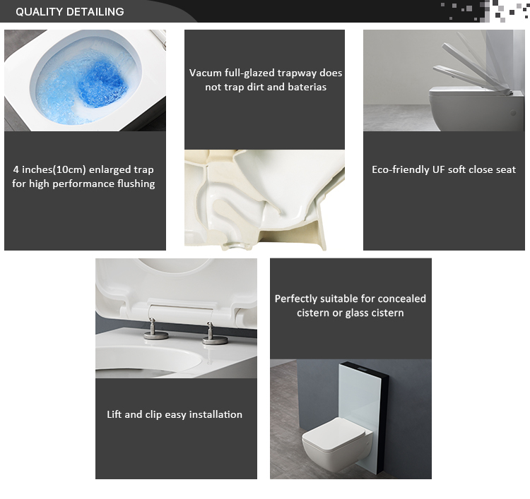 Top Design Tenne Solid Surface Wall Mounted Push Button Toilet