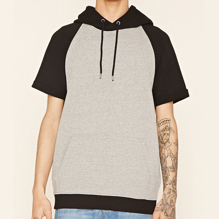 Customized plain short sleeve soft hoodie pullover
