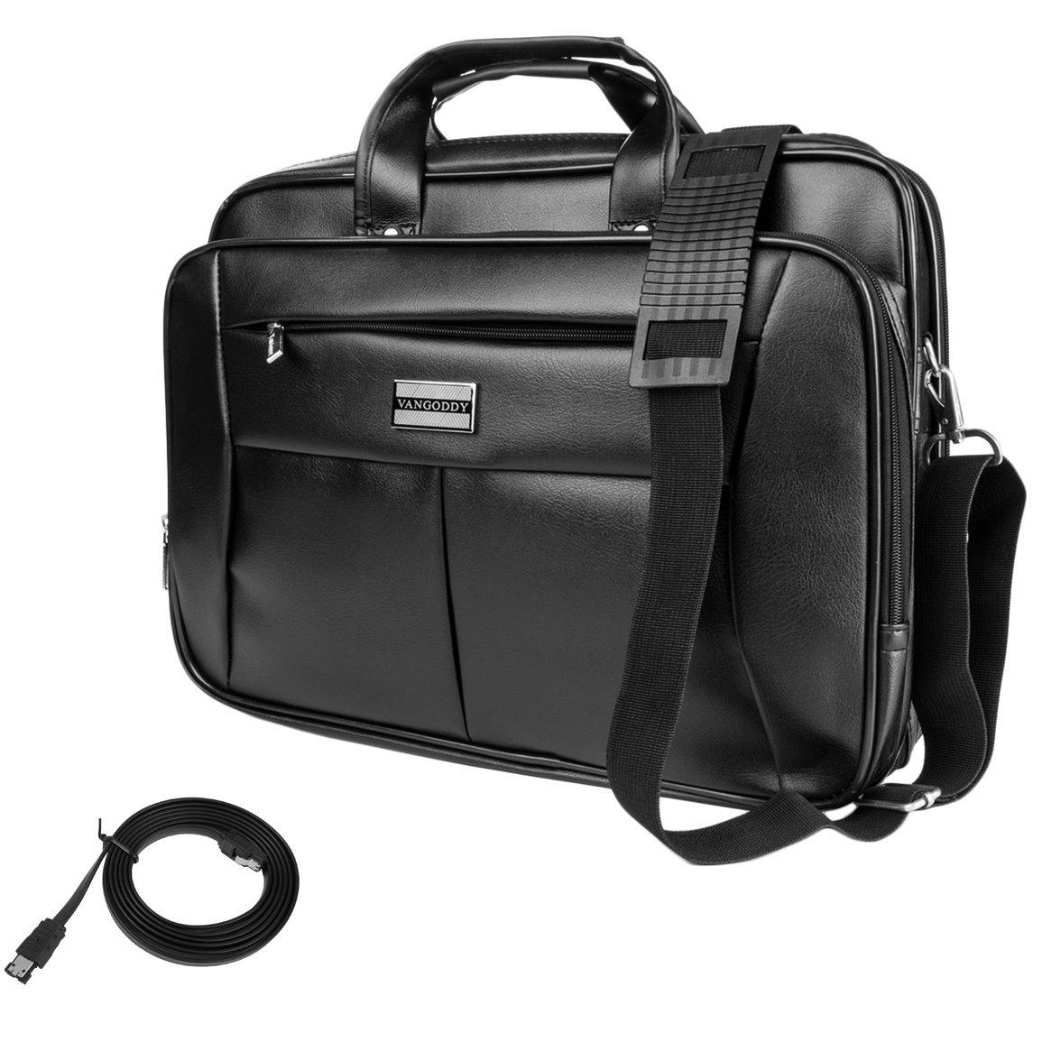 15.6 inch Vangoddy 2 in 1 Multipurpose Black Shoulder Strap Travel Carrying Barrow Laptop Bag - HP EliteBook 755 G2 + Sumaclife SATA-eSATA 5' -Black
