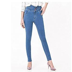 Women Jeans - TOOGOO(R)Woman's Fashion Plus Size Women High Waist Vintage Button Full Length Elastic Skinny Jeans Pencil denim Pants(Light blue,M/US-2)
