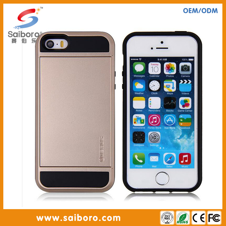 Hybrid mobile phone case two in one case with card holder card slot case for iphone5/5s