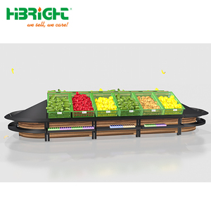luxury solid wood supermarket display rack for fresh vegetables and fruits