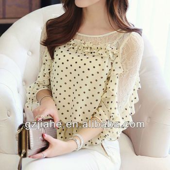 2014 lace blousechiffon lady shirtladies shirt design