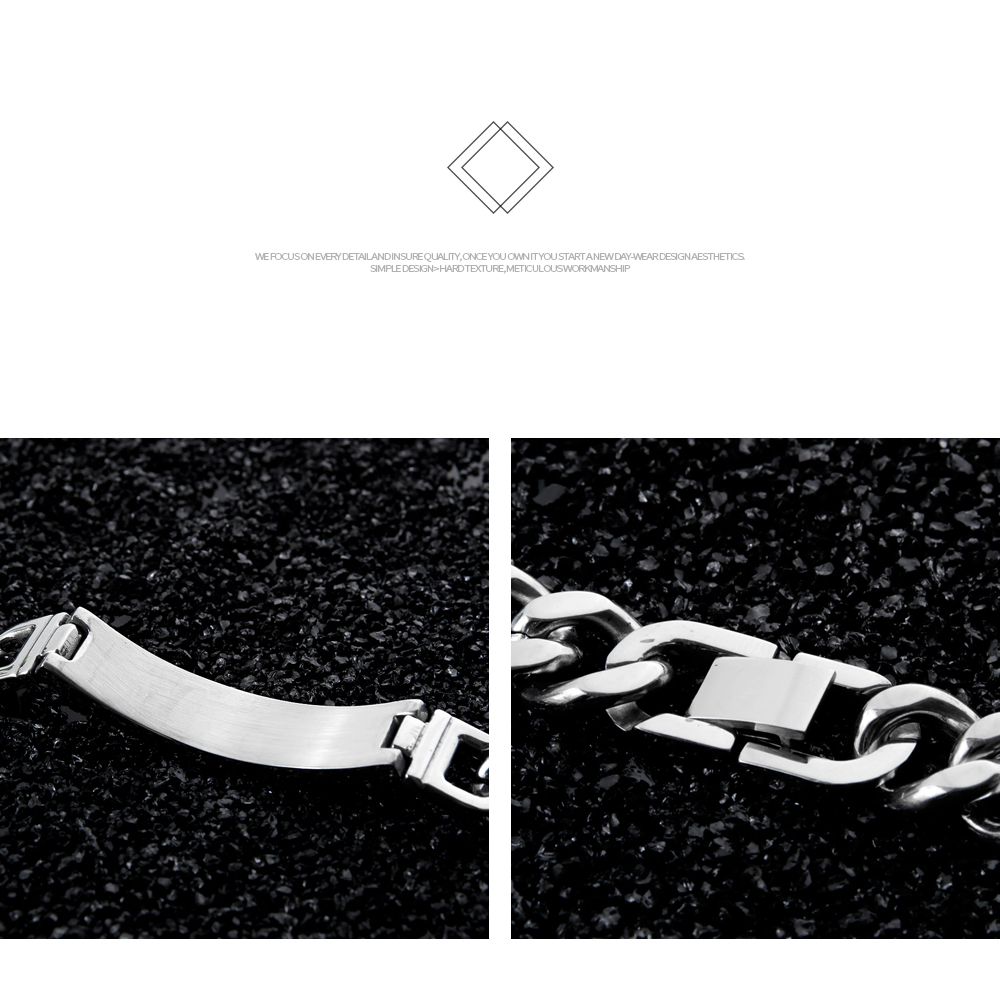 High Polish Stainless Steel Chain Free Engraving Diabetes Bracelet