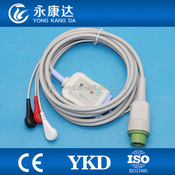 Drager 10 PIN AHA / Snap type 3 lead ecg cable for patient monitor
