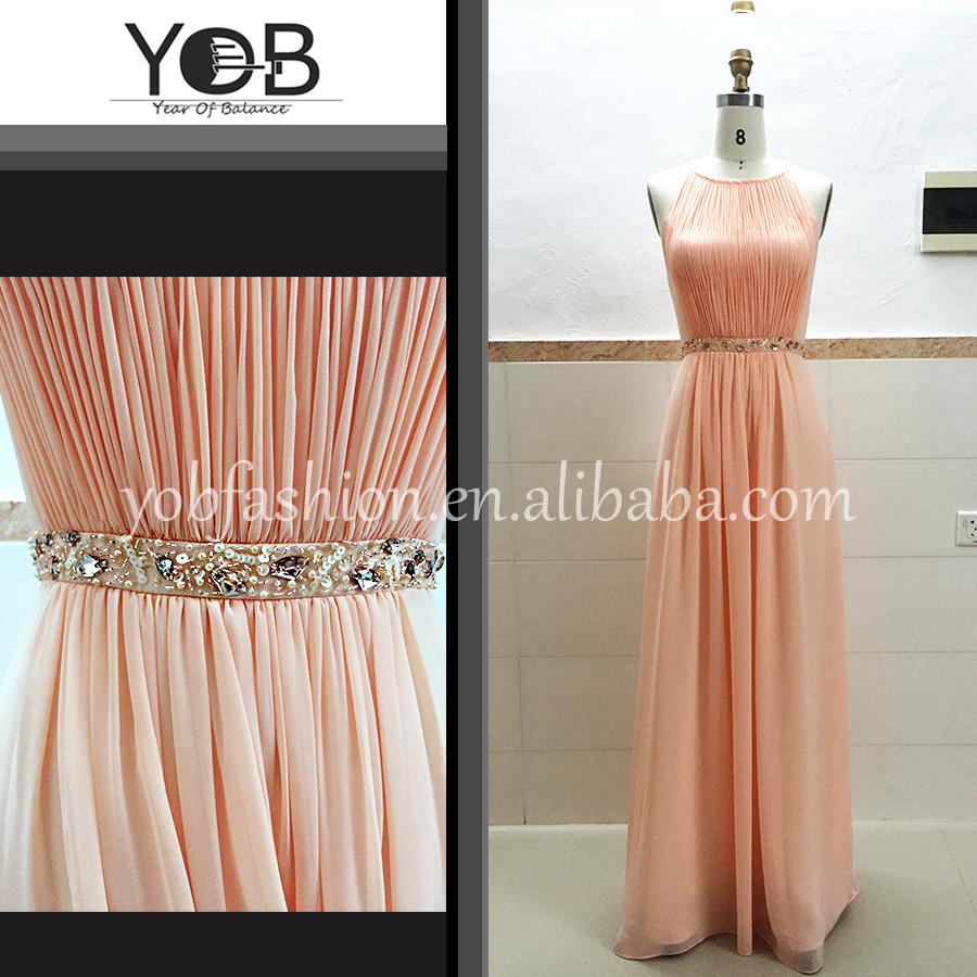 Wholesale terse beaded pleated light orange chiffon evening dresses party dresses