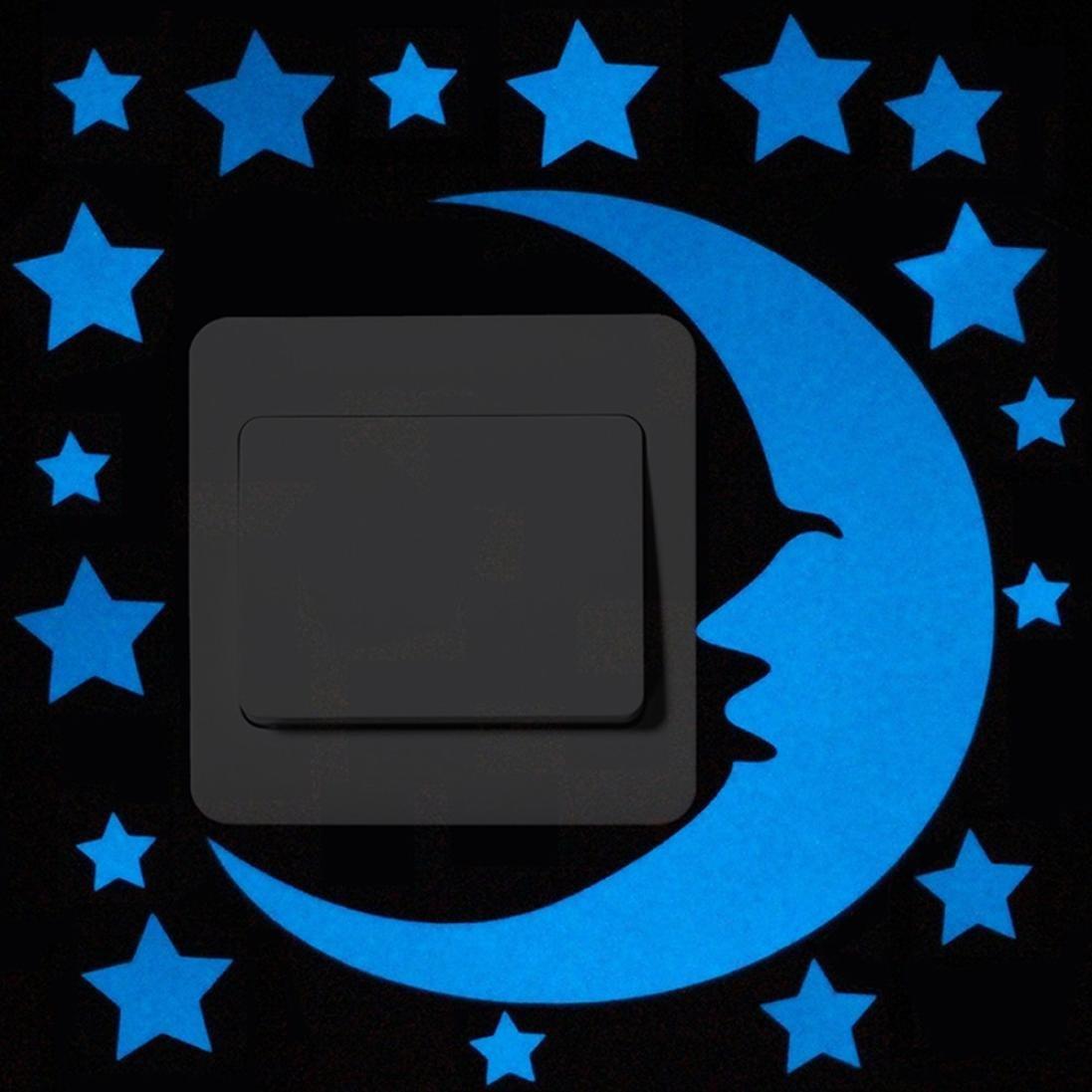 Home Decor, Rumas Fashion Cute Cartoon Switch Luminous Fluorescent Wall Sticker Removable Sticker (D)