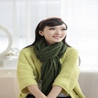 Acrylic scarf green color fashion Ladies Beautiful winter knitted scarf mader made by computer machines