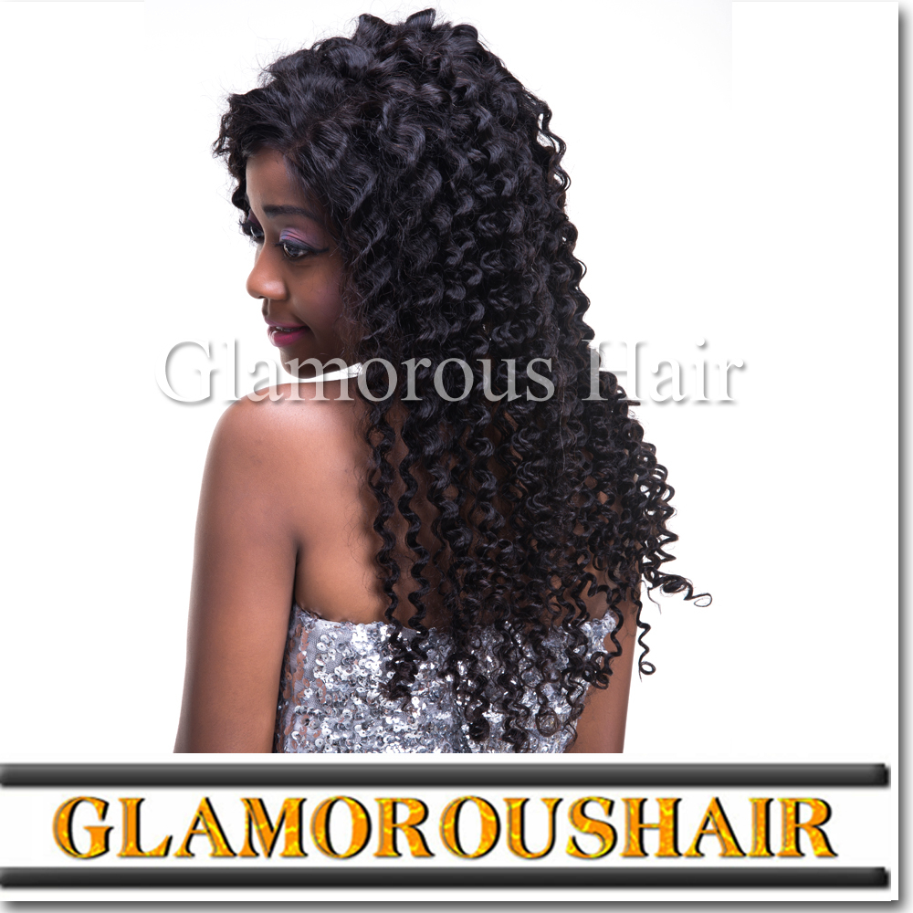 Glueless Full Lace Wig Jerry/Kinky Curly Indian Human Hair