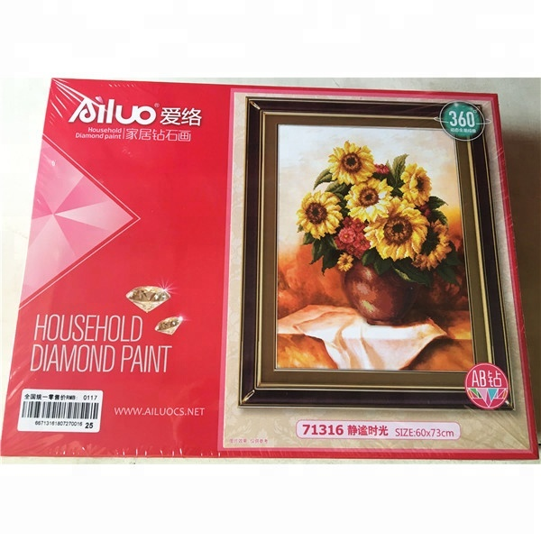 New flowers still life canvas paste DIY diamond painting with high quality short lint canvas