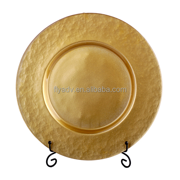 Cheap Wholesale Wedding charger plate glass gold with smooth surface for wedding