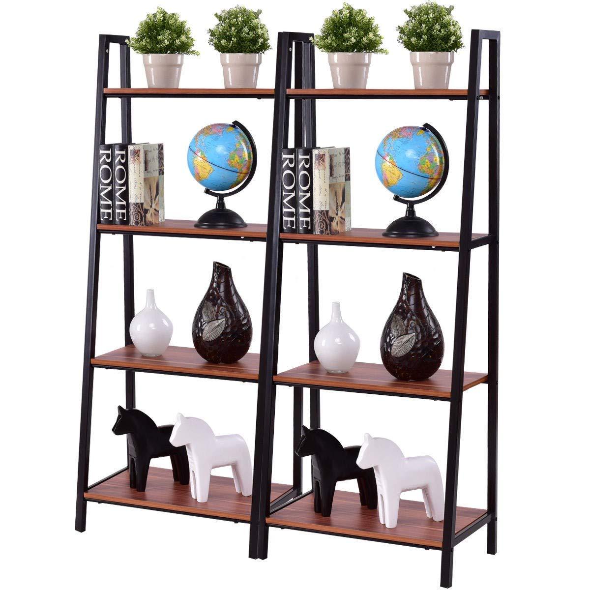 BeUniqueToday 2 pcs 4-Tier Modern Ladder Bookshelf Ladder Bookshelf Shelf Bookcase Tier Modern Storage Display