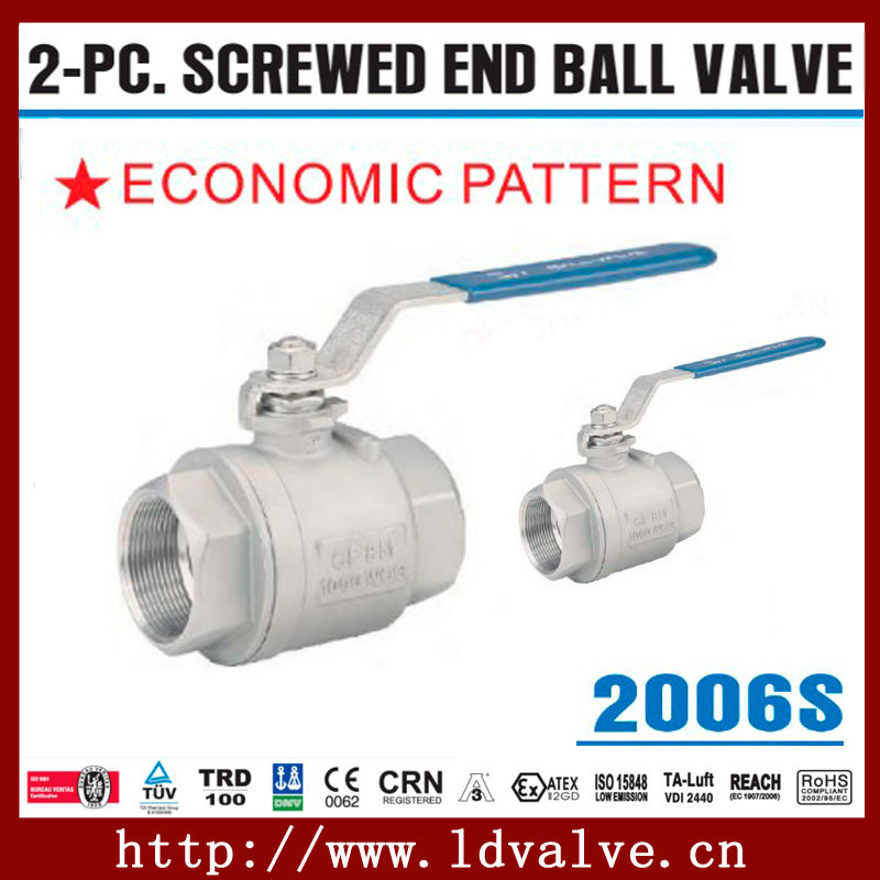 "2006S Type DN15 (1/2"") 2-pc CF8M and WCB Material Screwed End 1000WOG Full Port Economic Pattern Ball Valve"