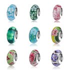 Hot selling 925 Sterling Silver Loose Round Murano Glass Bead For Jewelry Making