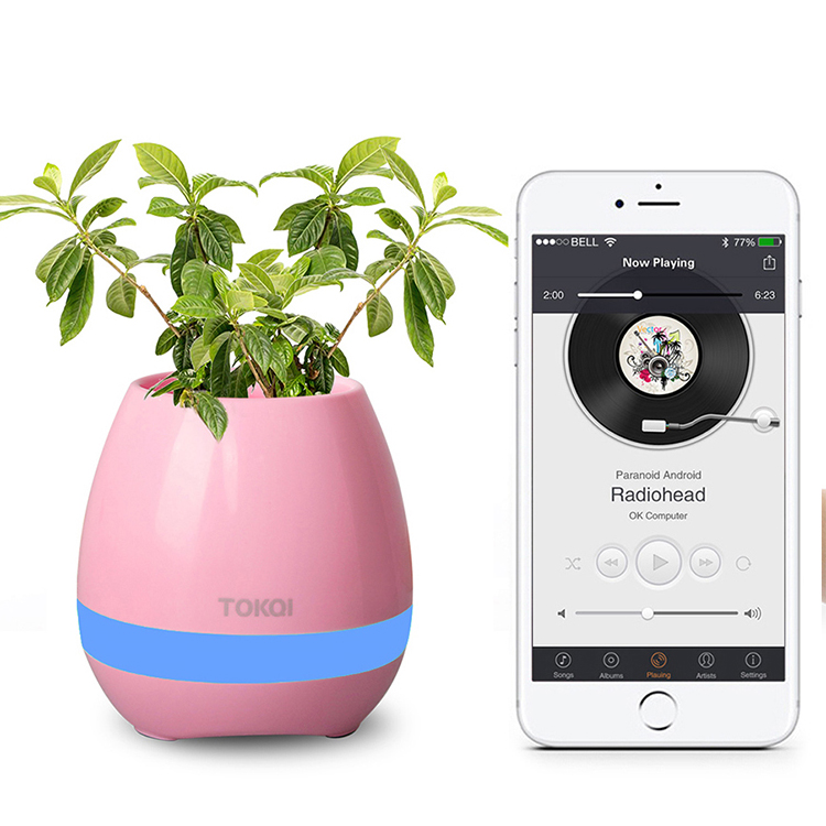 2017 new products Creative Pots Smart Music plastic flower pot with bluetooth speaker