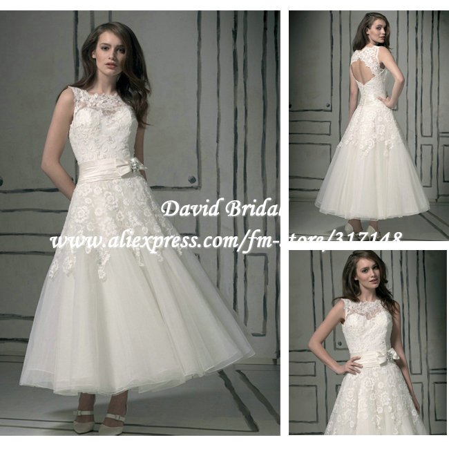 Simple Ankle Length Lace Wedding Dresses White Three: New Arrival DV156 Keyhole Back Lace Top Sleeveless Ankle