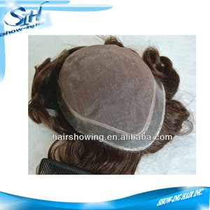 fine mono around pu with front double folded net toupee