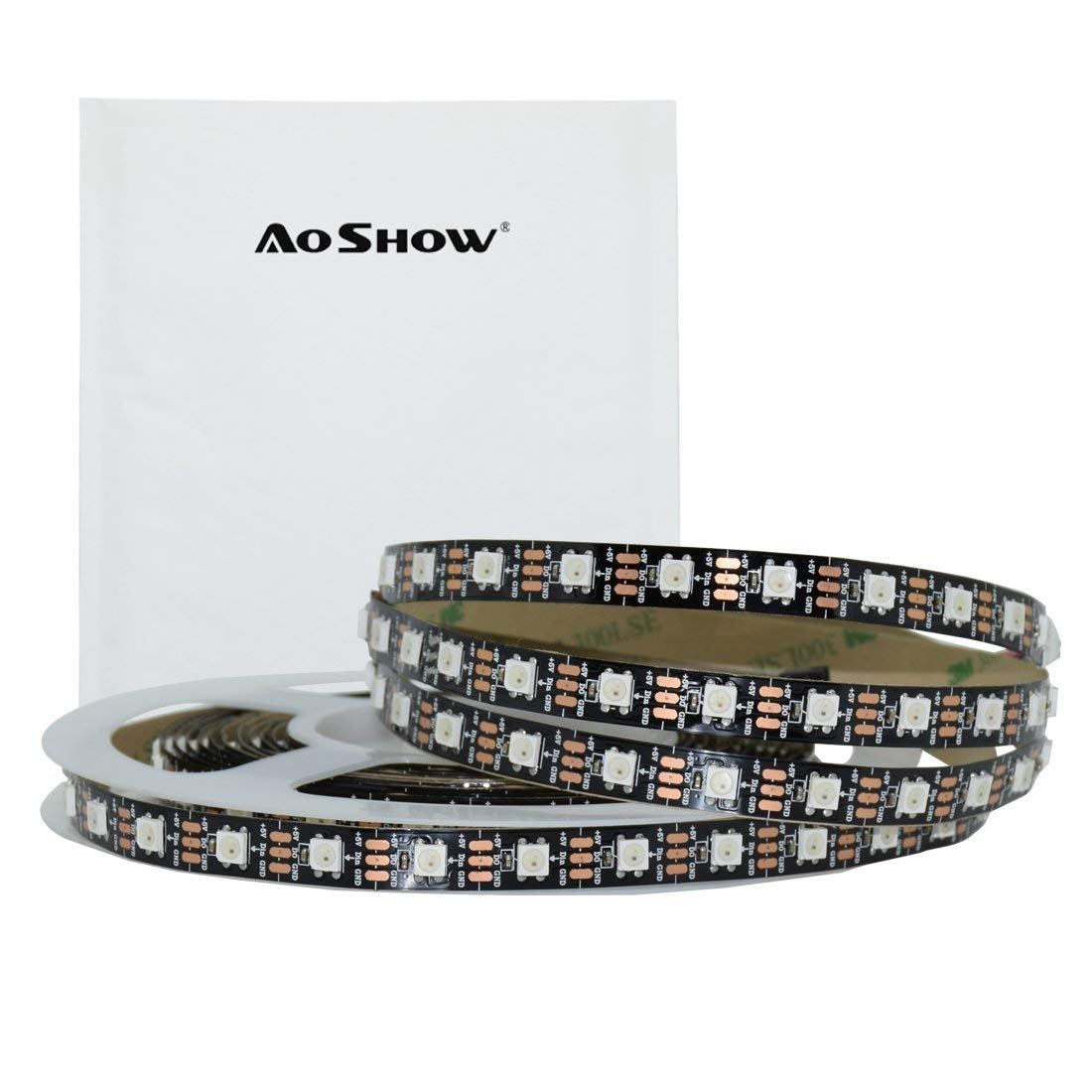Aoshow 16.4FT 300LEDs WS2812B 5V LED Piexl Tape Light 60Pixels/3.28FT SMD 5050 RGB Changing Full Color Each LED is Independently Addressable Non-Waterproof IP20 (Black PCB)
