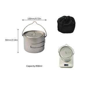 Camping cup 900ml titanium outdoor cooking pot for hiking with hanging handle