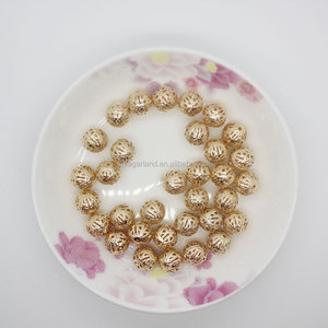 Wholesale 10mm Gold Plating Metal Hollow Round Spacer Beads For Jewelry Making