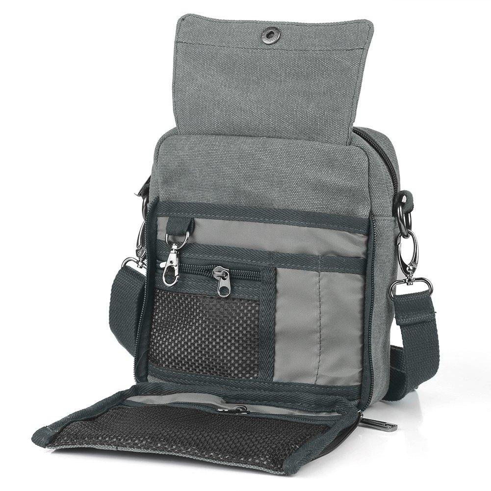 e0165f7e84d2 Get Quotations · Koolertron Vintage Canvas Multifunction Crossbody Shoulder  Bag Men s lightweight Small Satchel Bag Waist Bag (Grey