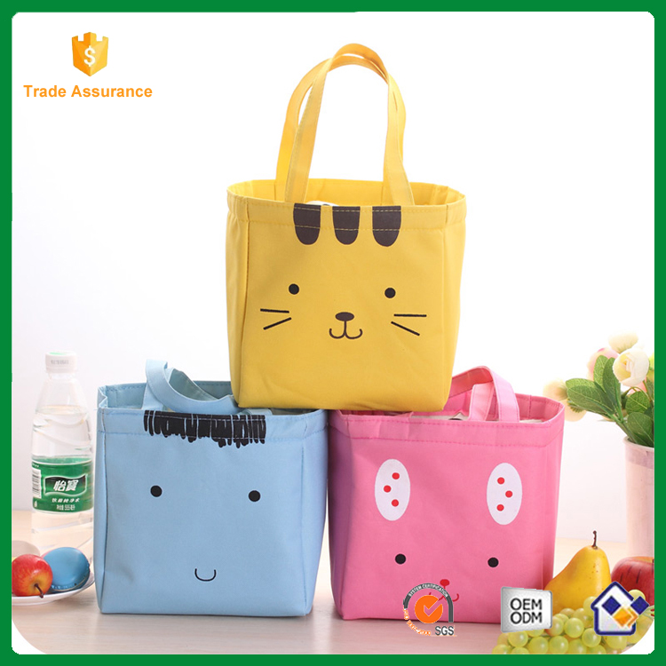 Cute print large insulated canvas lunch cooler bag for girls