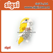 Wholesale Crystal Yellow Parrot Shape Rhinestone Brooch For Sale