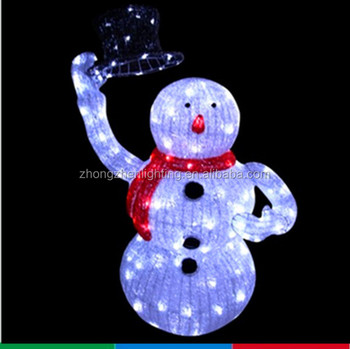 Led Christmas Acrylic Snowman With Top Hat Outdoor Yard Art Decoration
