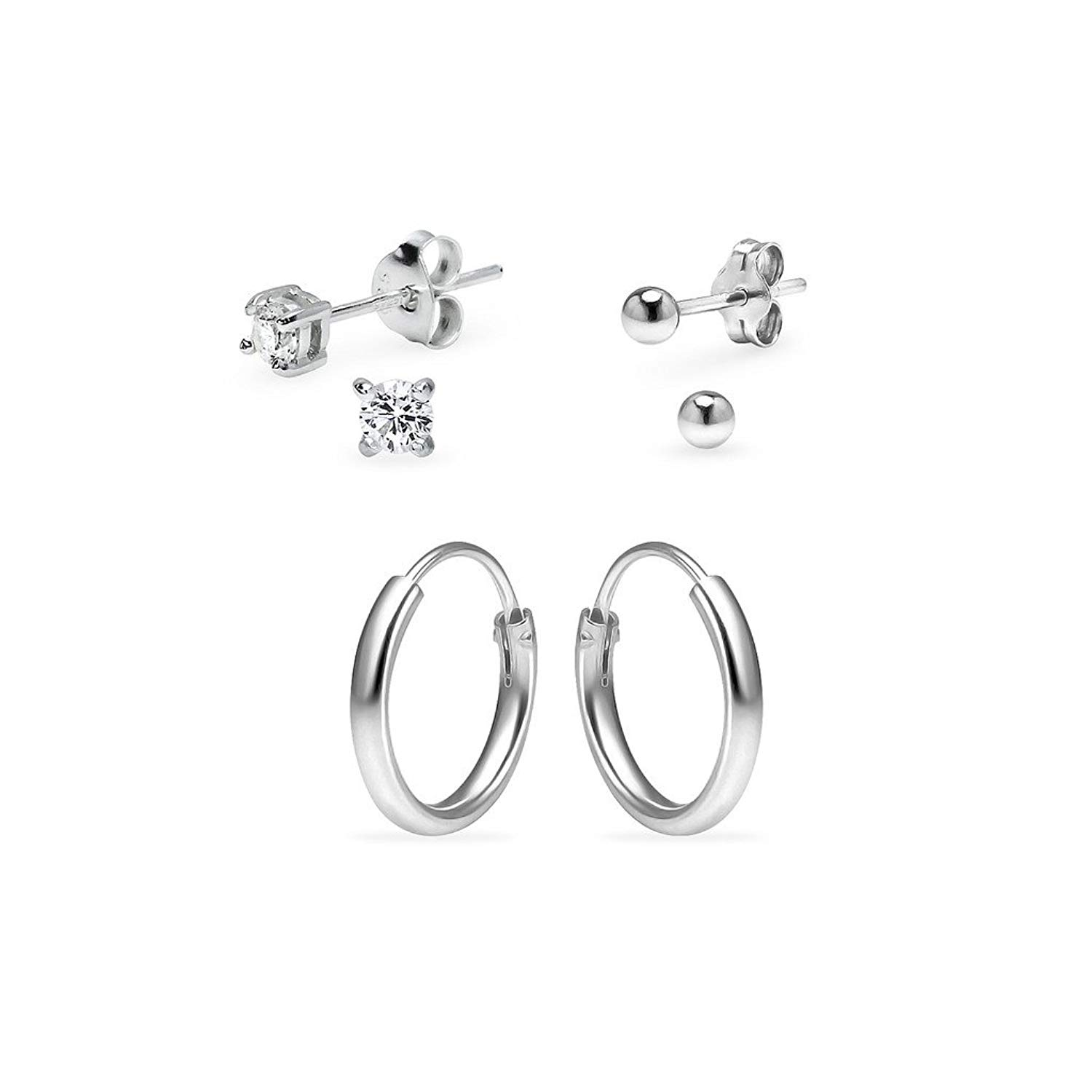 0fe8d901d Get Quotations · Three Pairs Sterling Silver 10mm Endless Hoops 3mm Round  CZ & 3mm Ball Stud Unisex Cartilage
