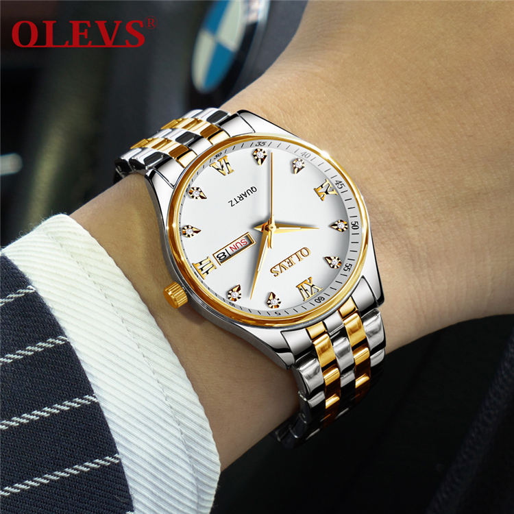 OLEVS 5570 Simple Business Men Watch Date and Week Male Clock Quartz Dial Luminous Hands Calendar Man's Bracelets Wristwatches