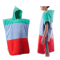 Custom Wholesale Absorbent Quick Dry Absorbent Digital Printed Microfiber Kids Hooded Beach Poncho Towel