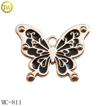 Large butterfly shape logo handbag metal badge black enamel metal hang tag for garment