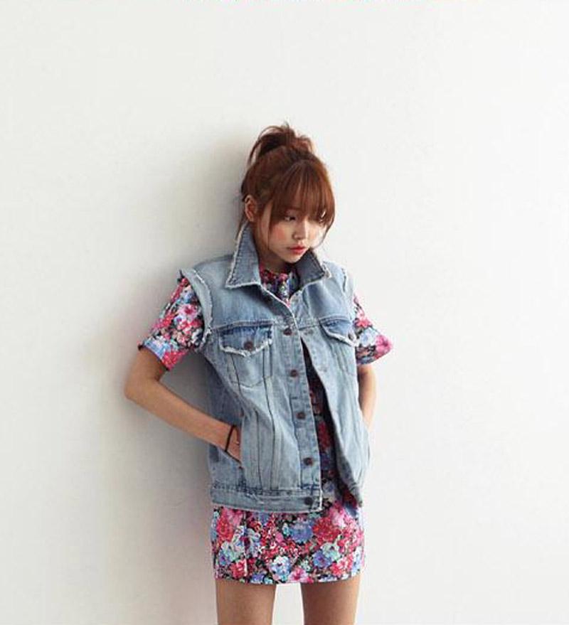 e49e64da1d7c Get Quotations · Denim Vest Women Casual Colete Coat Vintage Cardigan Jean  Sleeveless Turn-down Collar Breasted Colete