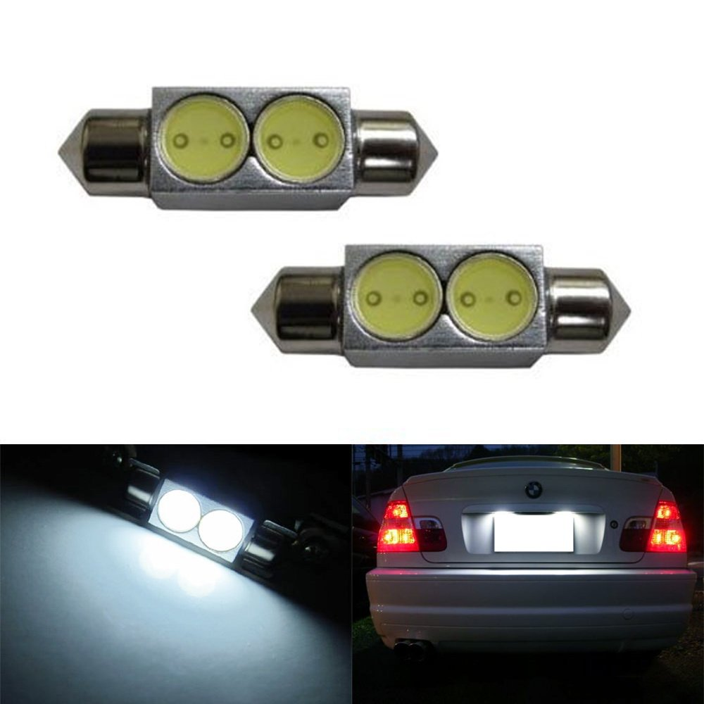 "iJDMTOY (2) Xenon White 2W 1.50"" 39mm 6418 C5W LED Bulbs For Audi BMW Ford Mercedes Porsche Volkswagen License Plate Lights"