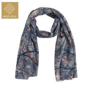 Wholesale Muffler Woven Printed Scarf Ladies Custom Flower Tree Printed Blue Polyester Scarf Floral Printed Voile Scarf