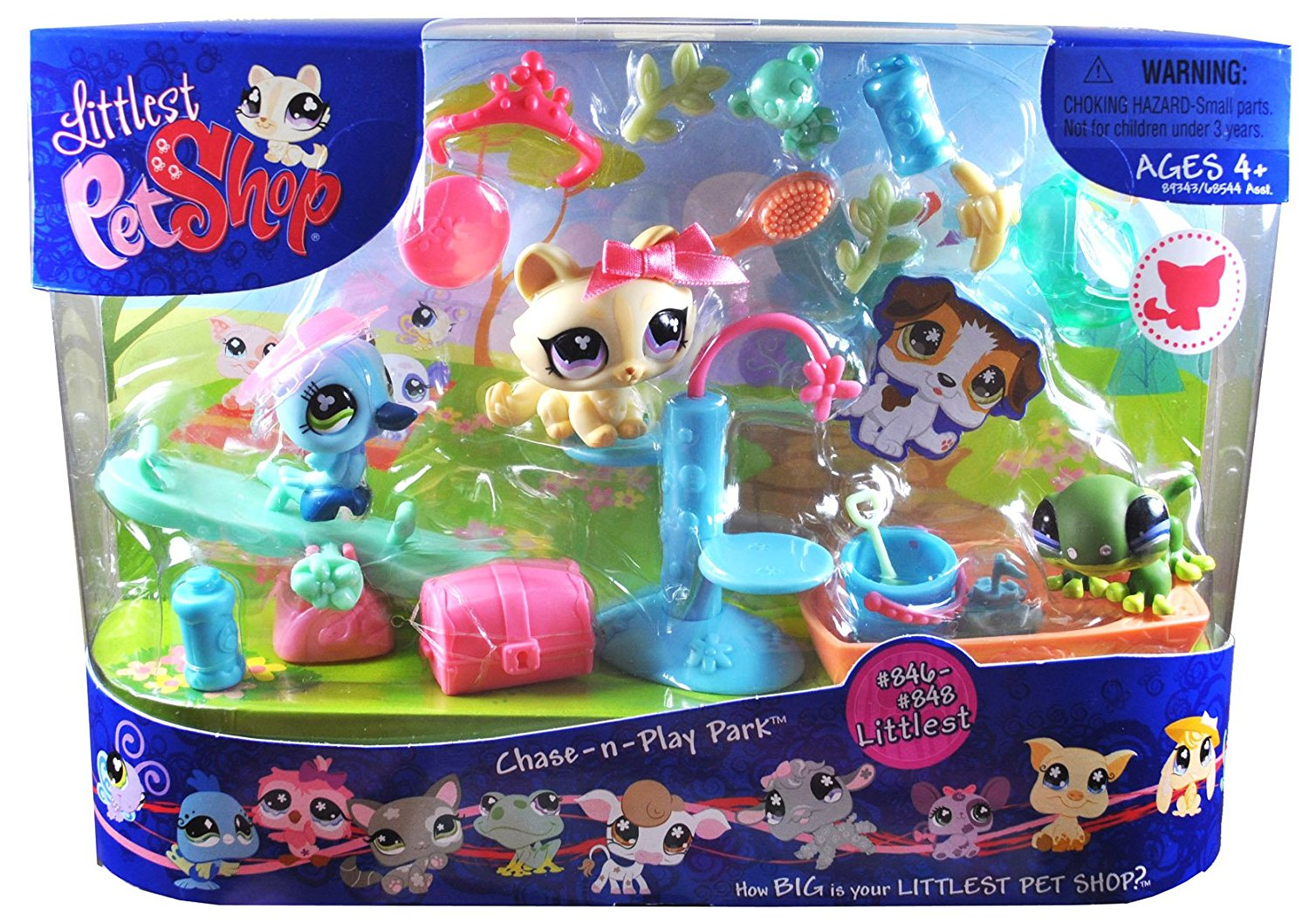 "Littlest Pet Shop Littlest Series 3 Pack Bobble Head Pet Figure Box Set : Chase-n-Play Park with Blue Hummingbird (#846), Green Gecko (#847), Yellow Kitten (#848), Seesaw, Cat Tree, Chest, Sandbox with Bucket and Shovel, Sunglass, Tiara, 2 Water Bottles, Banana and ""Pet Toys"""