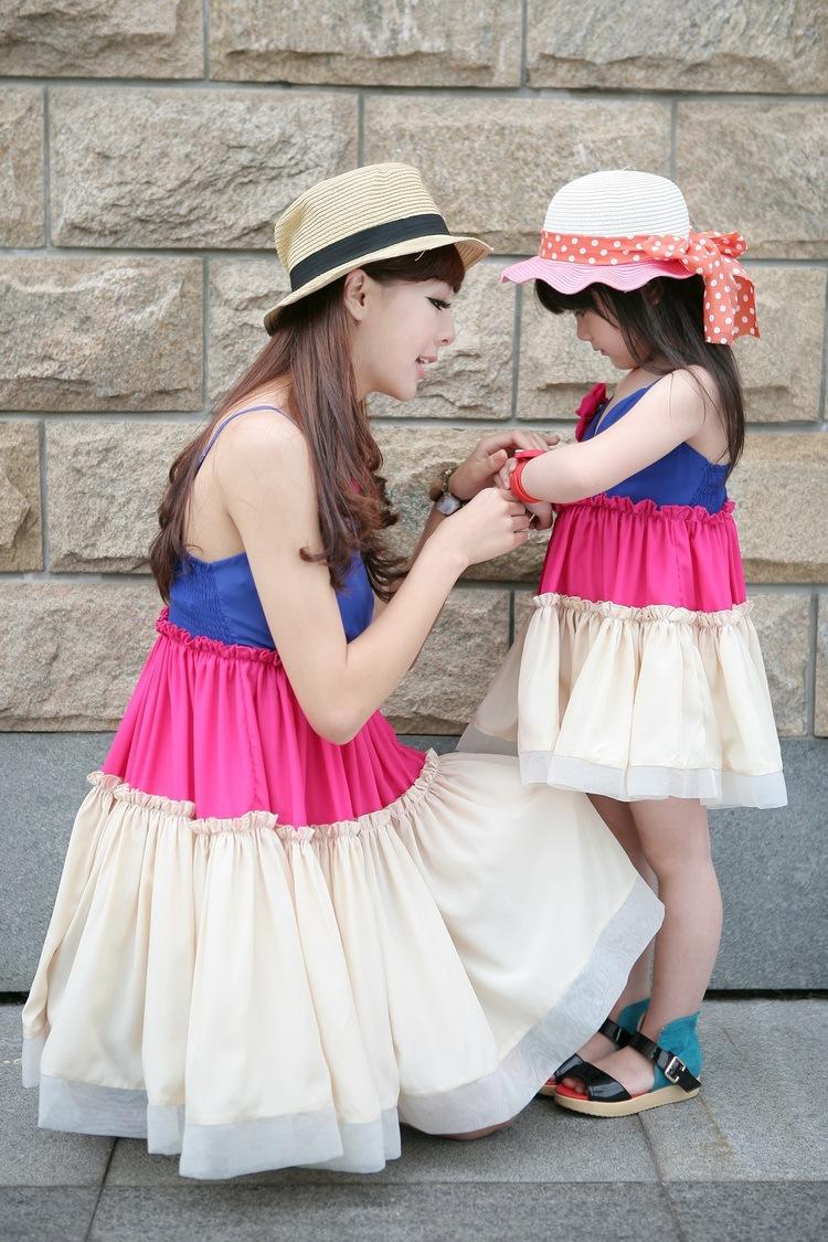 Лето мать дочь богемия мать и дочь платье большой цветок цвет блок принцесса семья платье