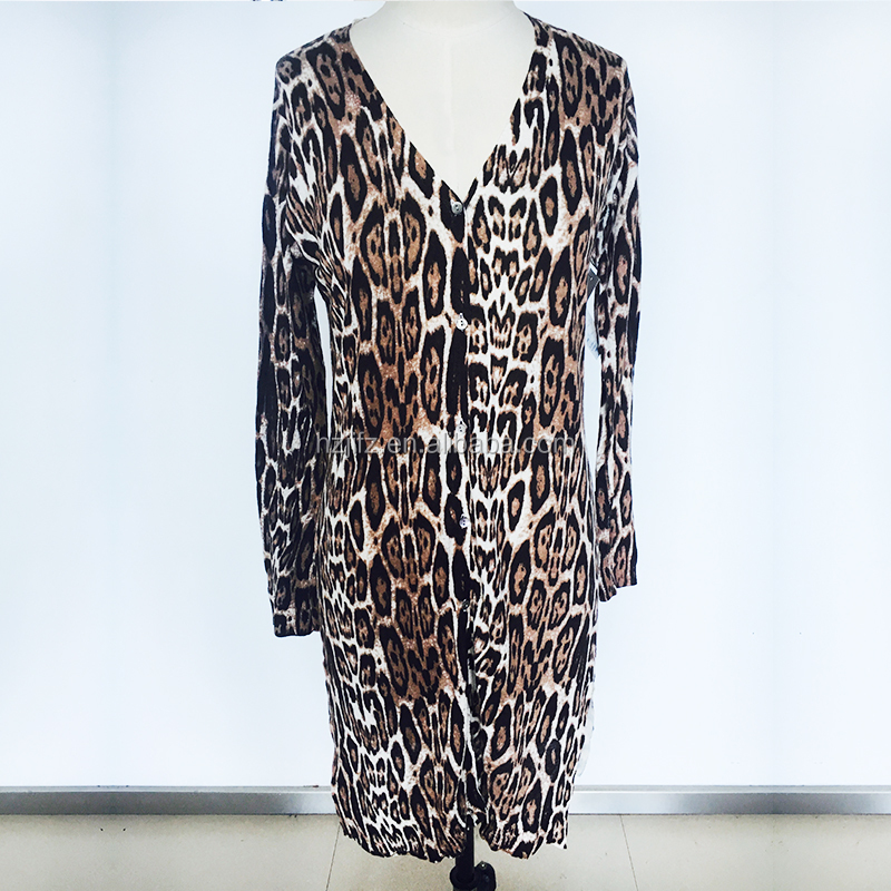Ladies leopard print long dress with side slits cardigan sweater