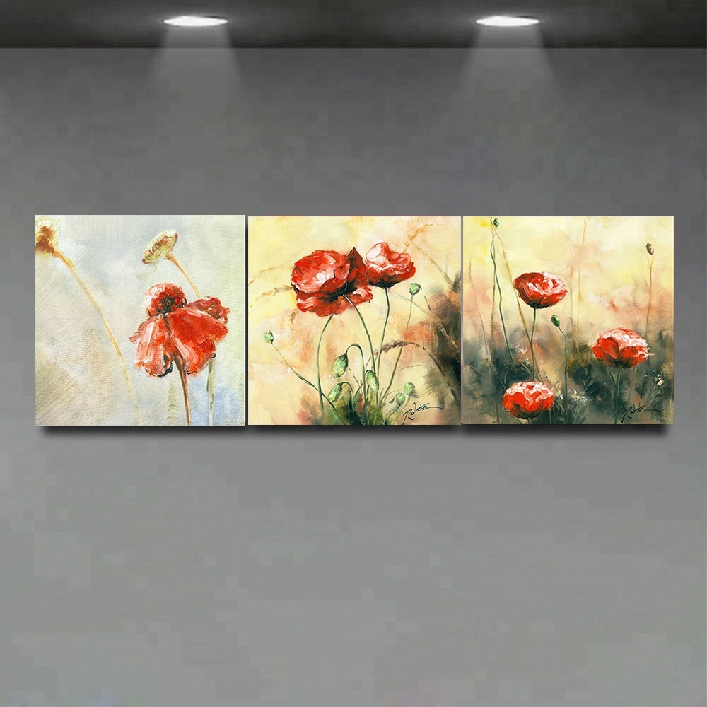 Beautiful Red Flower Canvas Oil Painting, Beautiful Red Flower ...