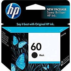 HP 60 Black Original Ink Cartridge (CC640WN#140) (3, Black)