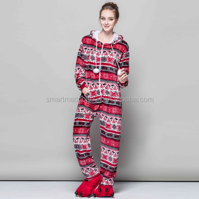Flannel adult wholesale christmas pajamas red birds christmas pajamas
