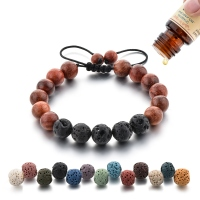 8mm Lava Rock Stone Jewelry And Round Wood Bead Ajustable Woven Bracelet