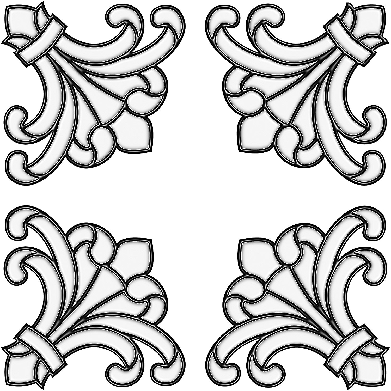 Brewster 99769 Peel & Stick Medici Stained Glass Corner Appliqués, 4-Count