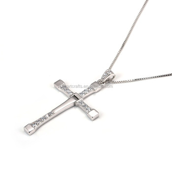 8e811a79a94f FAST and FURIOUS 7 same type 316L stainless steel rhinestones cross pendant  dominic toretto pendant chain